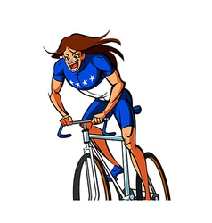 Close-up of woman riding bicycle vector
