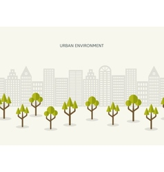 Urban park city landscape seamless border vector