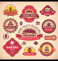 Set of vintage various bakery labels vector