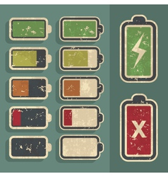 Retro grunge battery level indicator kit vector