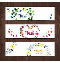 Watercolor invitation card with floral bouquet vector