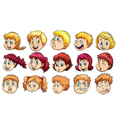 Group of human heads vector