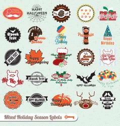 Mixed holiday labels vector