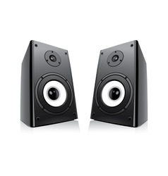 Pair of black loud speakers isolated on white back vector