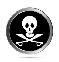 Piracy flag button vector