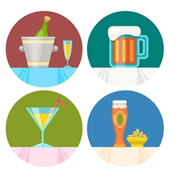 Drink icons in flat design vector
