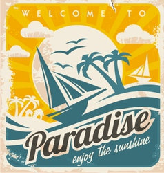 Welcome to tropical paradise vintage poster design vector