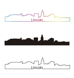Lincoln skyline linear style with rainbow vector