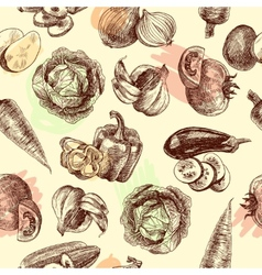 Vegetables sketch seamless pattern vector