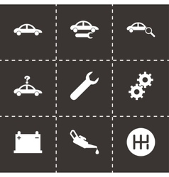 Black car service icon set vector