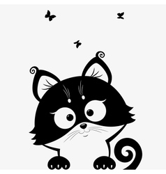 Kitten black vector