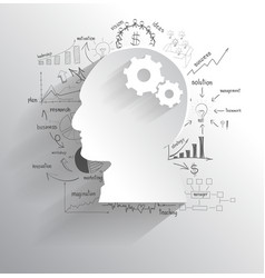 Human head with set of gears as a brain idea vector