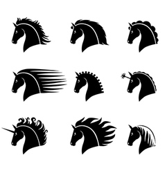 Horse head set vector