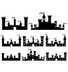 Set of fantasy castles silhouettes for design vector