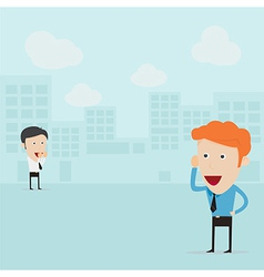 Businessmen communicating from distance vector