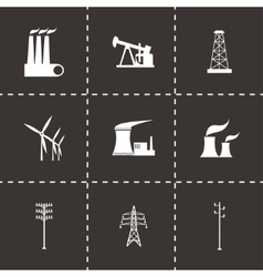 Black energetics icons set vector