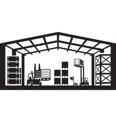 Industrial warehouse scene vector