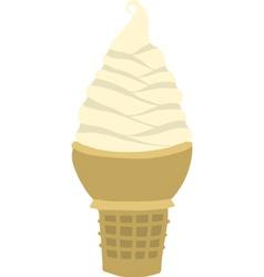 Vanilla soft serve ice cream cone vector