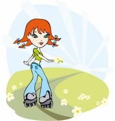 Cartoon girl on roller skates vector