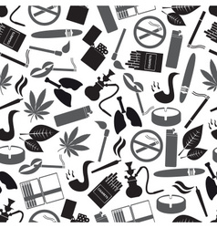 Smoking and cigarettes simple black icons pattern vector
