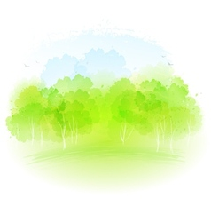 Watercolor spring landscape vector