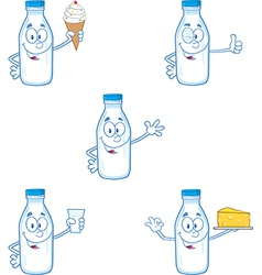 Cartoon milk bottles vector