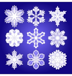 Set of filigree snowflakes vector