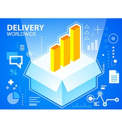 Bright delivery box and bar chart on blue ba vector