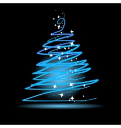 Christmas tree on black background vector