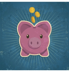 Retro piggy bank vector