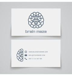 Business card template brain maze logo vector