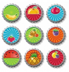 Fruity bottle caps  set vector