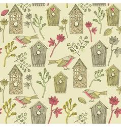 Retro bird house pattern vector