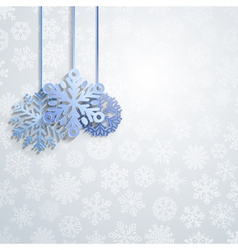 Christmas background with hanging snowflakes vector