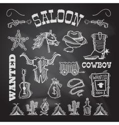 Cowboy chalkboard set vector