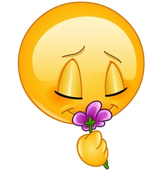 Smelling flower emoticon vector