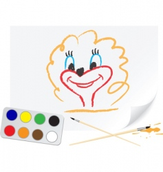 Drawing girl vector