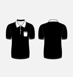Black polo t shirt front and back views vector