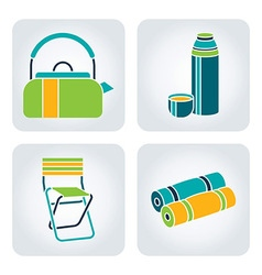 Camping supplies icons vector