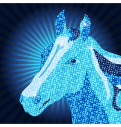 Symbol of 2014 mozaic horse vector