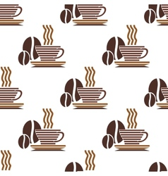 Repeat pattern of a cup of coffee and coffee beans vector