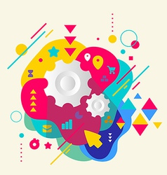 Cogwheel on abstract colorful spotted background vector