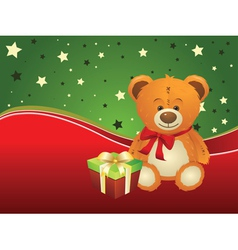 Teddy bear with gift box2 vector