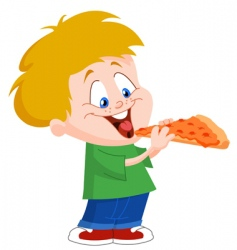 Kid eating pizza vector