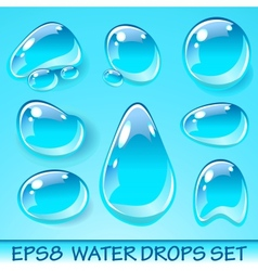 Water drops icon set vector