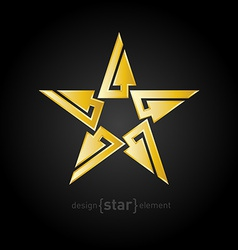 Gold abstract star with arrows on black background vector