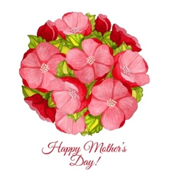 Greeting card for mothers day with flowers of vector