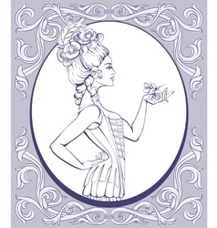 Rococo style young woman lined vector