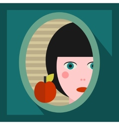 Young girl face in the mirror vector