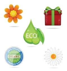 Shiny nature green creative sign set vector